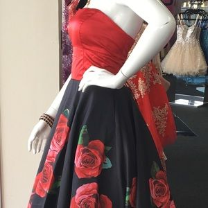 Sherri Hill 52722 Strapless Satin Rose Print Dress